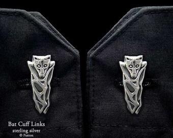 Bat Cuff Links Sterling Silver