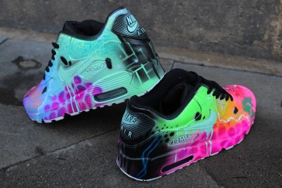 61f2c7b93e ... Custom Nike Air Max 90 Funky Galaxy Colours Graffiti Airbrush Sneaker  Art ...