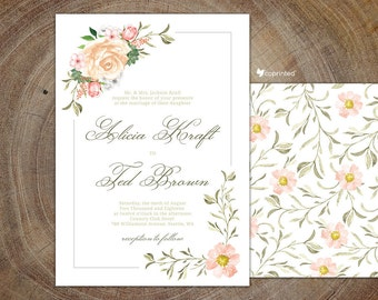 Watercolor Wedding Invitation, Matching RSVP, Enclosure, Menu, Program, Floral Watercolor, Flowers, Flower Buds Wedding Invite, Frame, Roses