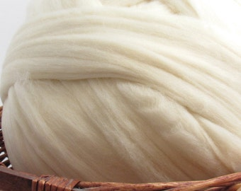 Rambouillet Wool Top Roving - Undyed Natural Spinning & Felting Fiber / 1oz