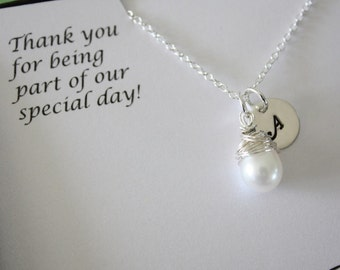 Personalized Bridesmaid Gift, Bridesmaid Necklaces, Thank you Cards, Initial & Pearl Sterling Silver Necklaces