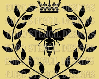 Euro Stencil Design ... Bee with Crown n Laurel Wreath Stencil French Paris used for burlap pillow, bedding, sign painting ... 12x12 inches