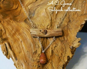 Necklace, chain, necklace, driftwood, wood, driftwood, wood, silver