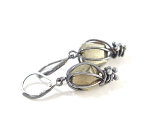 Raw Gemstone Earrings - Pyrite Cage Earrings in Sterling Silver - Raw Pyrite Earrings - Raw Pyrite Jewelry - Pyrite Crystal Earrings