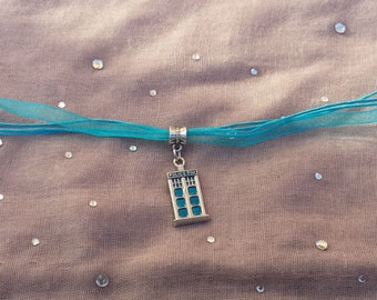 Doctor Who Inspired TARDIS Police Box Ribbon Necklace