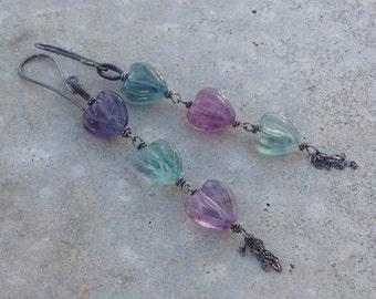 FLUORITE earrings, carved HEART multi-color earrings, sterling silver handmade artisan earrings, Angry Hair Jewelry