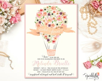 Hot Air Balloon Bridal Baby Shower Invitation Watercolor Flower Up Up and Away Invite by Sparklefly Paperie