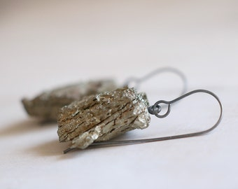 SALES . Pyrite earrings. Sterling silver earrings with natural Pyrite beads. Pyrite dangles, raw pyrite, metalic dangles, raw pyrite dangles