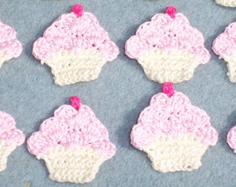 12 cotton thread crochet applique cupcakes with pink frosting  --  1553