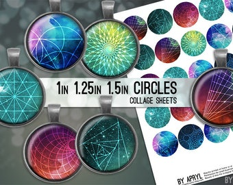 Space Geometry Digital Collage Sheets 1 inch 1.25 and 1.5 Circles Printable Download for Pendant Magnet Bottle Cap Necklaces JPG