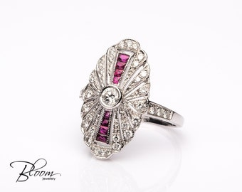 Art Deco Ring Vintage Ruby Ring White Gold Art Deco Ruby Ring Art Deco Diamond Ring Diamond Ruby Ring Natural Ruby Ring Bloom Jewellery