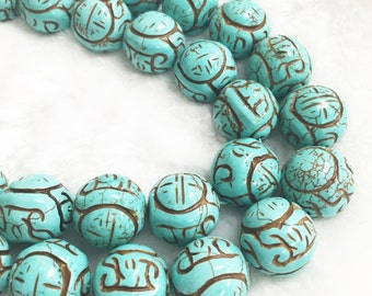 Carving Turquoise Round Gemstone Loose Beads 18mm.R-S-TUR-0415