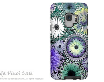 Purple Paisley Floral Case for Samsung Galaxy S9 - Green and Purple Floral S 9 Case with Art - Tidal Bloom - Dual Layer Case