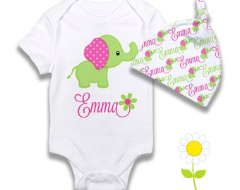 Personalized Elephant Baby Girl Gift Set - Elephant Bodysuit or Gown & Knotted Beanie Hat - Custom Name Hat, One-Piece - Coming Home Outfit