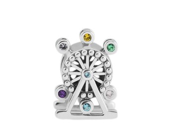 925 Sterling Silver Ferris Wheel Charm, Carnival, Fits Pandora Bracelets, Charity Donation