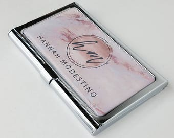 Business card holder etsy personalized business card case pink marble business card holder metal credit card holder gift for her reheart Gallery