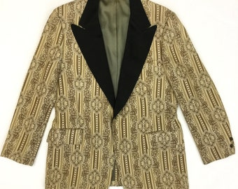 1960s Brocade Tux Jacket with Black Satin Lapels