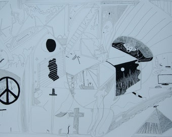 DECONSTRUCTION original PEN and INK drawing on paper