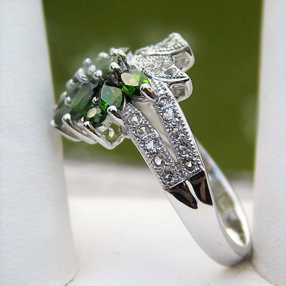 Russian Chrome Diopside Ring / Siberian Emerald / Size 8 / Sterling Silver / Unique Engagement / Promise / White Topaz