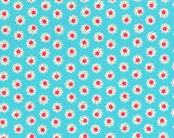 Japanese Lecien - Flower Sugar Fall 2014 Fabric - Tiny Flower Doily in Aqua Blue - cotton quilting fabric - HALF YARD cut