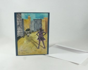 Fearless Girl Blank Greeting Card Print of original Watercolor Painting #MeToo Nevertheless She Persisted Graduation Card Mom Gift