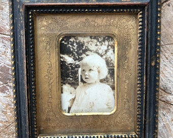 Vintage Sepia Black and White Photograph of Female Toddler in Gold/Wood/Glass Frame
