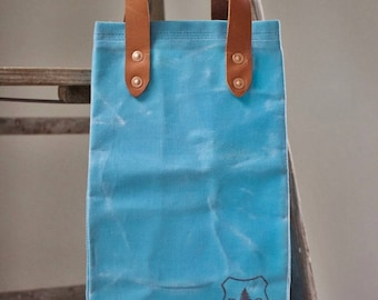 The Waxed Canvas and Leather SMALL Grocery Tote Bag, NEW COLORS!!