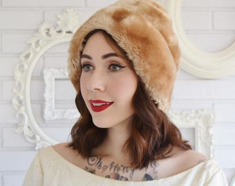 Vintage Faux Fur Hat in Tan and Brown and Horizontal Stitching