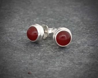 Carnelian Earrings, Silver Stud Earrings, Round Carnelian Studs, Semi Precious Stone, Gemstone Earrings, Sterling Silver