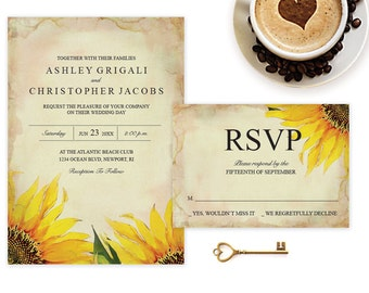 DIY Wedding Invitation That Can Be Edited ~ Sunflower Template MS Word, Editable Instant Download Invite, Downloadable RSVP Card, Reception
