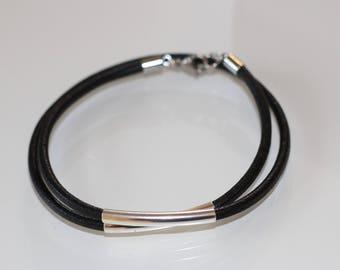 Lederamband double in black metal tube carabiner buckle bracelet Women's friendship bracelet wrap bracelet Leather Jewellery