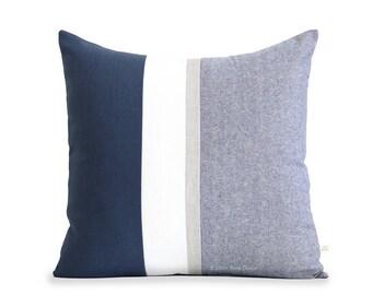 20x20 Metallic Silver Striped Pillow Cover in Navy and Cream Linen, Modern Home Decor by JillianReneDecor - Chambray, Nautical