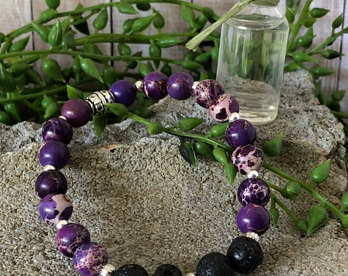 Aromatherapy Bracelet, Aromatherapy Earrings, Lava Stone Jewelry, Purple Jasper, Essential oil Jewelry