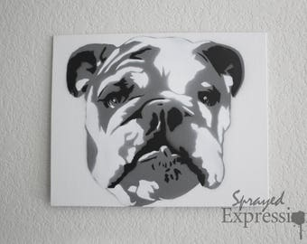"English Bulldog Portrait Spray Painting, 10""x8"" Canvas Panel"