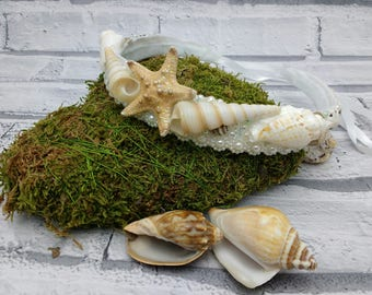 Seashell tiara / beach wedding / starfish halo / small mermaid crown / starfish hair garland /  seashell headpiece / beach crown / OOAK / UK