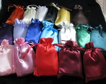 18 colors - Satin Drawstring Bags 5 X 8