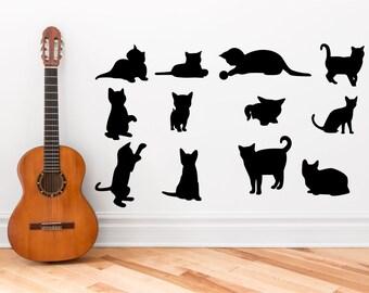 Cat / Kitten Silhouette set 12 -  wall art design vinyl sticker decals
