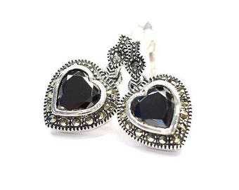 Stylish Handmade Heart Earrings Black