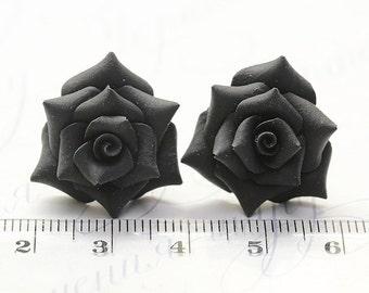 Black Rose Earrings Studs. Black flower earrings. Polymer clay Rose Earrings Post. Black Rose Jewelry. Black minimalist. Bridesmaids gift.