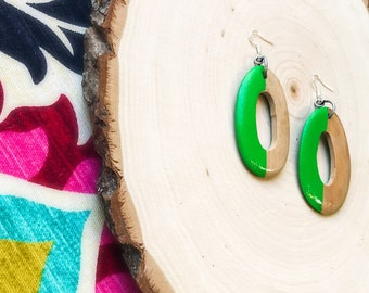 Hand Painted Wood Earrings- Lime Green