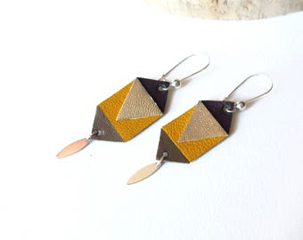 Geometric Leather Earrings, Mustard, Chocolate, Gold