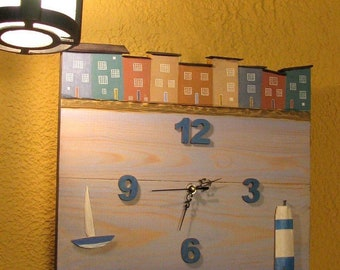 "Wood Wall Clock ""Lighthouse"". Home Décor Clock."