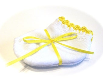 Infant Girl Socks With Bright Yellow Crocheted Shell Stitch-Size 0-6 Months