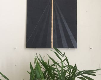 "Black Triangle 007, 8""x8"" painting on oak plywood"