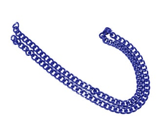 1 feet Matte Blue Purse Chain - 14mm Width, Replacement Chain, Chain Strap, Chunky Curb Chain, Chain Handle with Clasp, Layered Chain