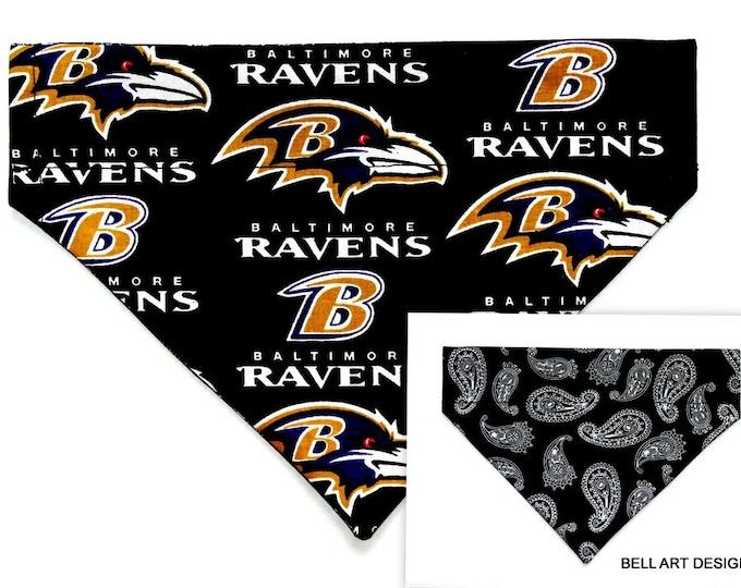 DOG BANDANA ~ Baltimore Ravens ~ Over the Collar ~ Reversible ~ Bell Art Designs ~ Medium ~ DCM0652