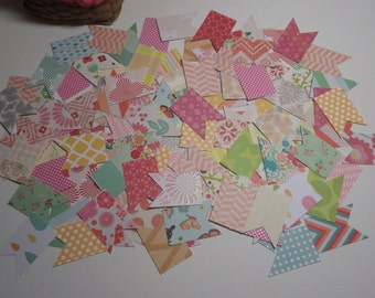 Designer Paper Banner Die Cuts - Hand Punched - Random Assortment - Choose your Quantity!