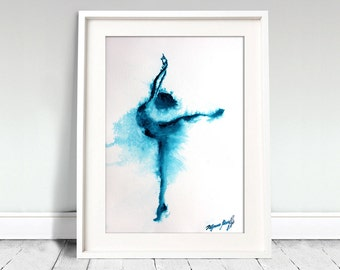 Ballerina watercolor art print. Wall art, wall decor, digital print.Blue ballerina dancer