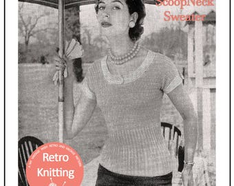1950's Scoop Neck Sweater Sweater Knitting Pattern  - PDF Instant Download