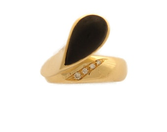 """18 Kt yellow gold ring with diamonds and ebony Drop-Euro 1 ' 065 .00 discount -25%-""""free shipping"""""""